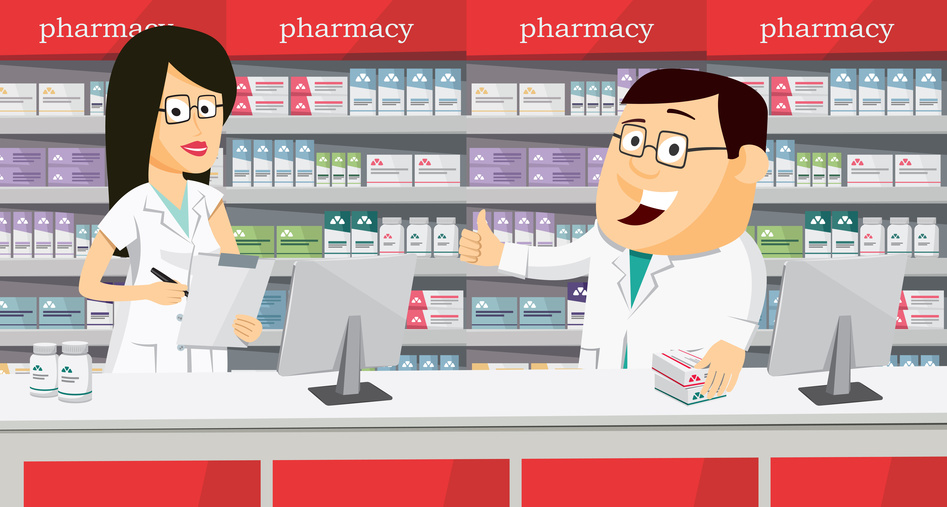 Pharmacists in pharmacy. Modern interior pharmacy and drugstore. Sale of vitamins and medications. Funny vector simple illustration.